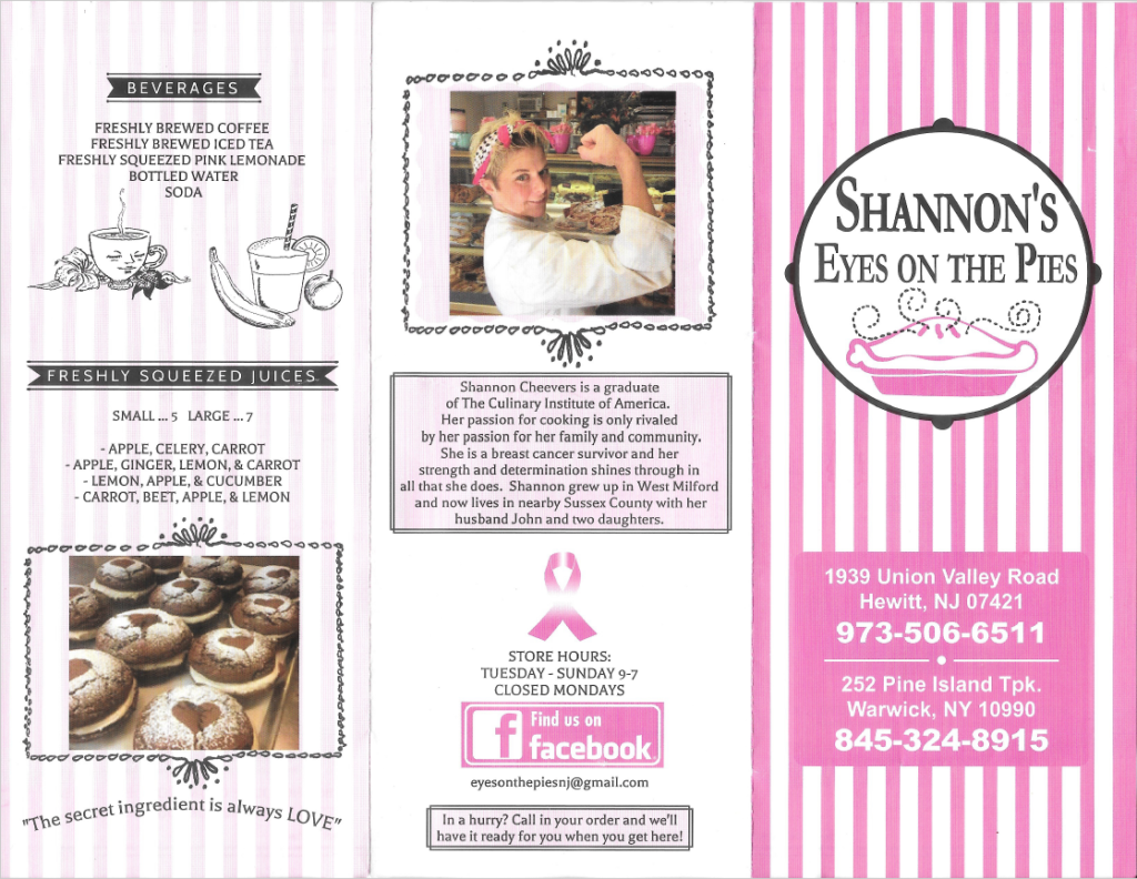 Shannons's Eyes on the Pies Menu